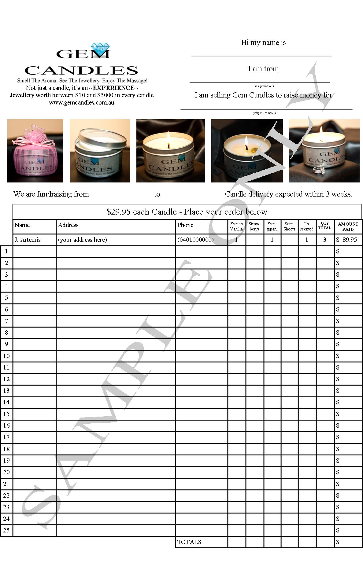 Fundraise with gem candles 33 profit in your pocket for Candle order form template